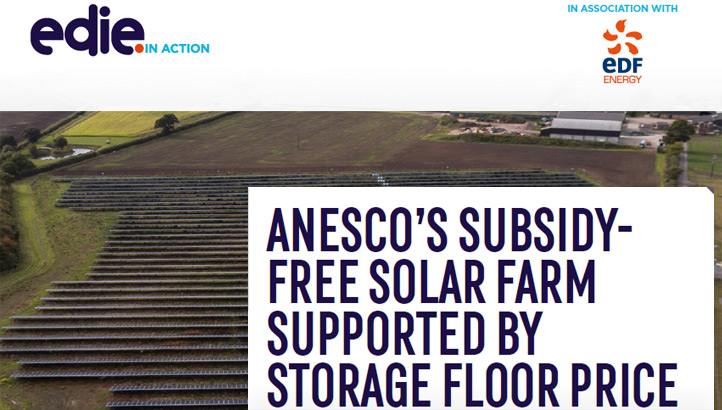 In action: Anesco's subsidy-free solar farm supported by a storage floor price - edie.net