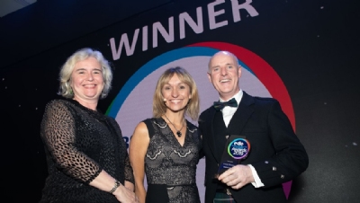 (L-R) Presenter Joanne Wade OBE, chief executive, ACE, compere Michaela Strachan and Ibstock Brick's Michael McGowan