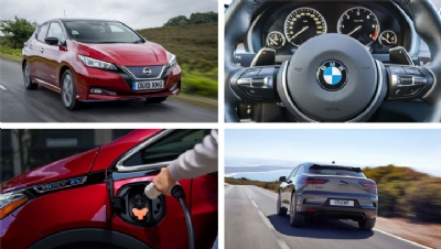 Read on to find out how 16 of the world's biggest carmakers are approaching the EV transition. Images (clockwise from top left): Nissan, BMW, JLR, GM