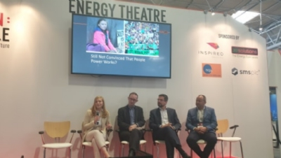 (L:R) Tesco's energy manager Rebecca Douglas; Capgemini's head of sustainability James Robey; Vodafone's group head of energy Bernd Leven and JRP Solutions' director George Richards