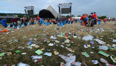 Pictured: Glastonbury in 2017, before its plastics 'ban'
