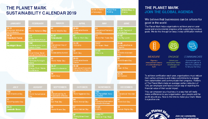 The Planet Mark Green Events Calendar
