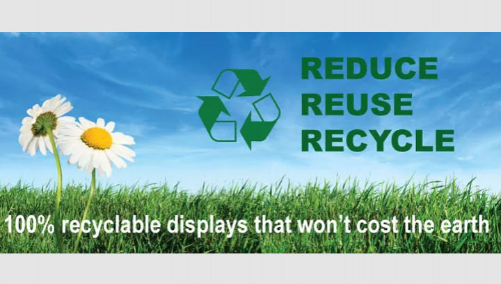 100% Recyclable Displays - sustainable, environmentally friendly display stands
