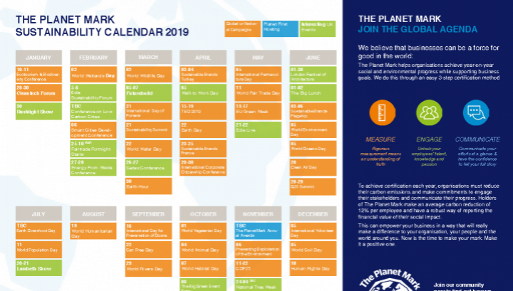 The Planet Mark Green Events Calendar