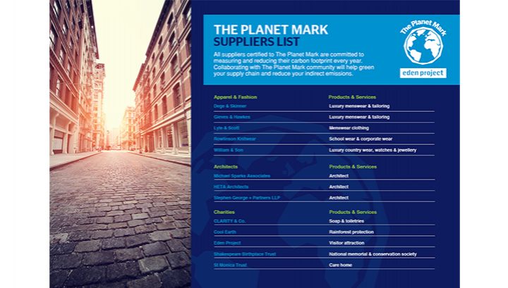 The Planet Mark Suppliers List